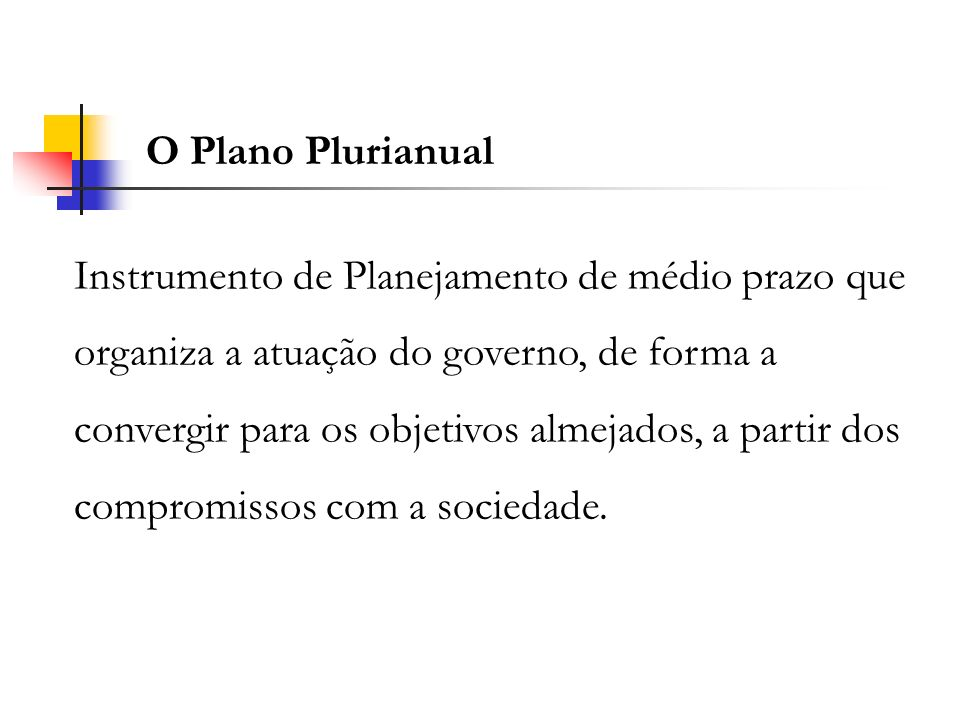 O Plano Plurianual