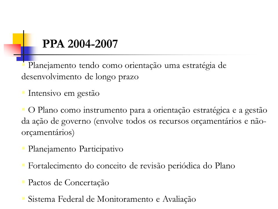 PPA 2004-2007 Planejamento tendo como orientação uma estratégia de desenvolvimento de longo prazo. Intensivo em gestão.