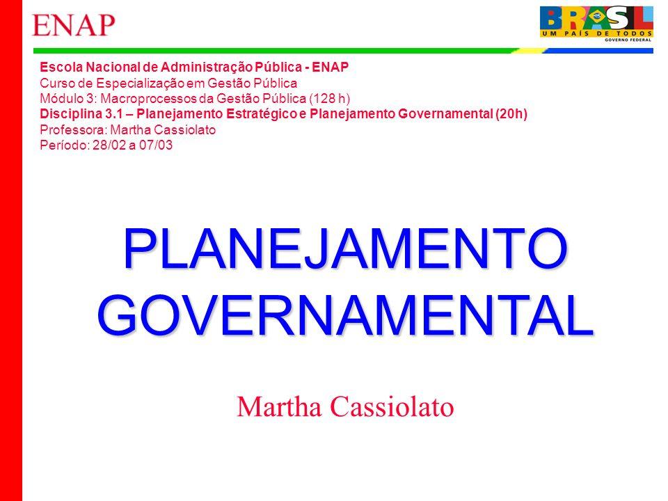 PLANEJAMENTO GOVERNAMENTAL Martha Cassiolato