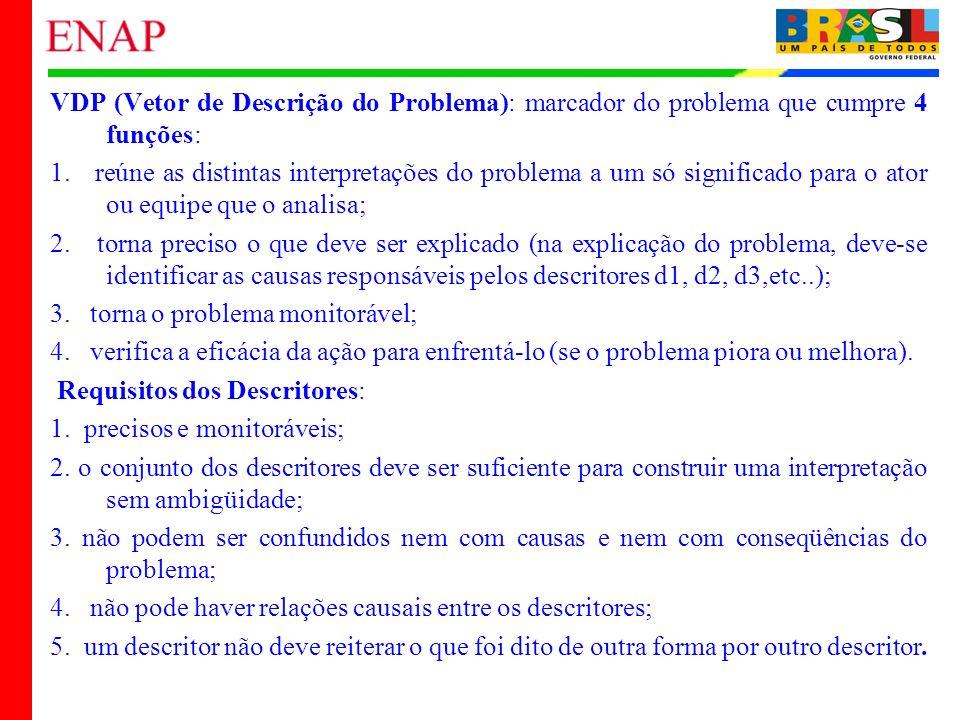 VDP (Vetor de Descrição do Problema): marcador do problema que cumpre 4 funções: