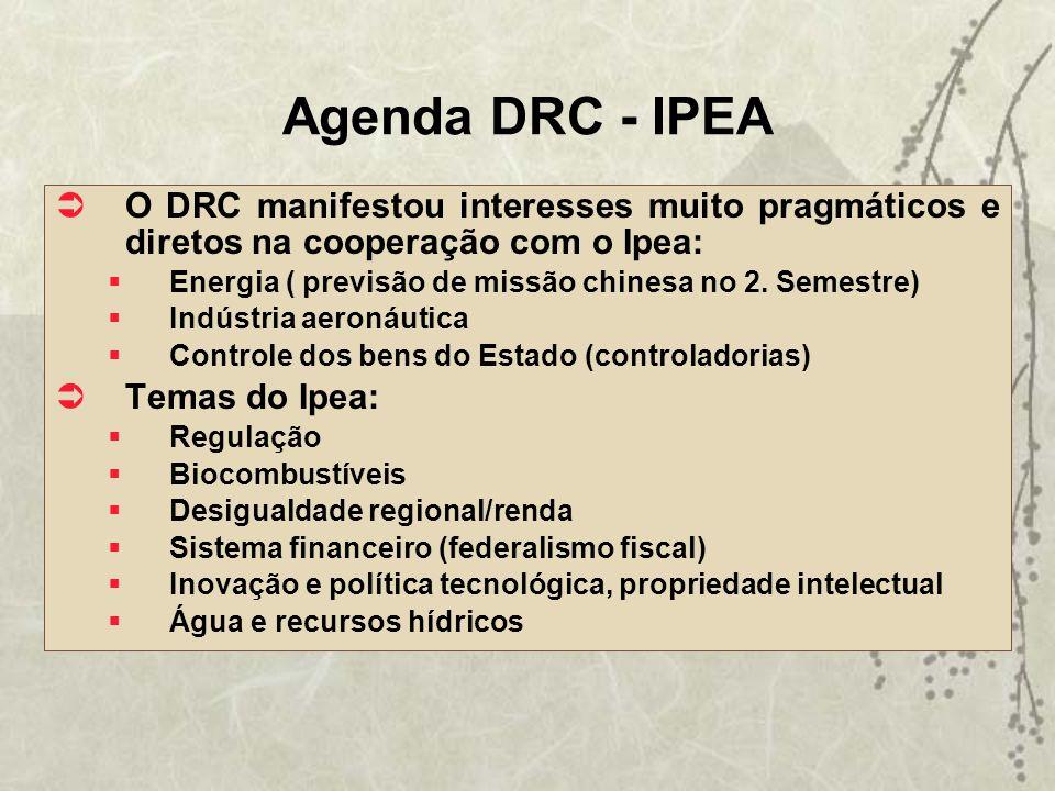 Agenda DRC - IPEA O DRC manifestou interesses muito pragmáticos e diretos na cooperação com o Ipea: