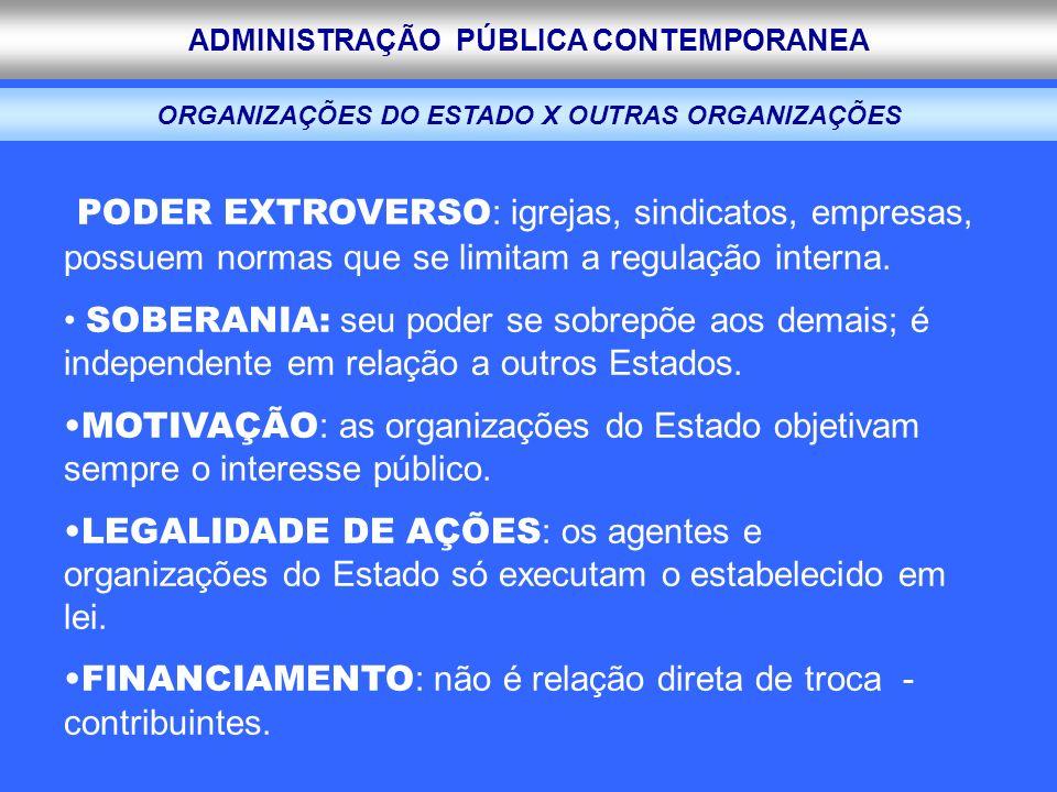 ORGANIZAÇÕES DO ESTADO X OUTRAS ORGANIZAÇÕES