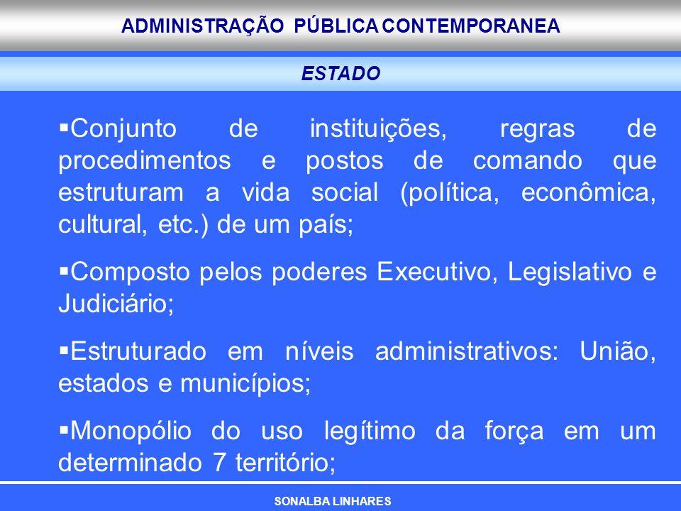 Composto pelos poderes Executivo, Legislativo e Judiciário;