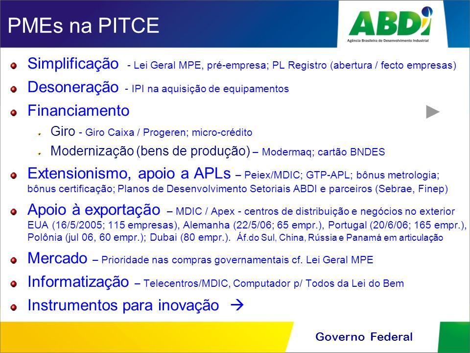 PMEs na PITCE Simplificação - Lei Geral MPE, pré-empresa; PL Registro (abertura / fecto empresas) Desoneração - IPI na aquisição de equipamentos.