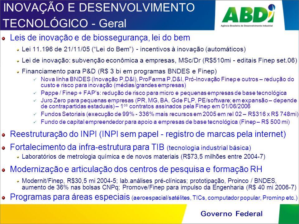 INOVAÇÃO E DESENVOLVIMENTO TECNOLÓGICO - Geral