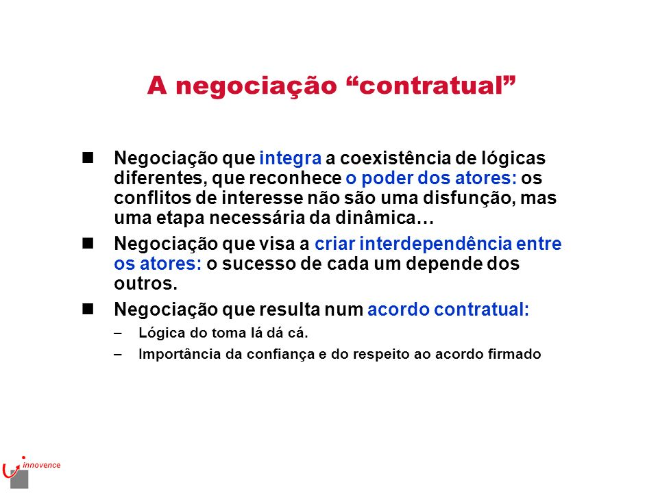 A negociação contratual