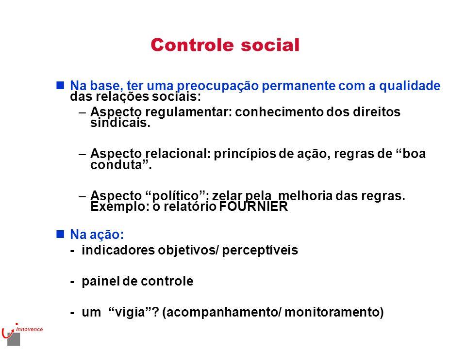 Controle social Na base, ter uma preocupação permanente com a qualidade das relações sociais: