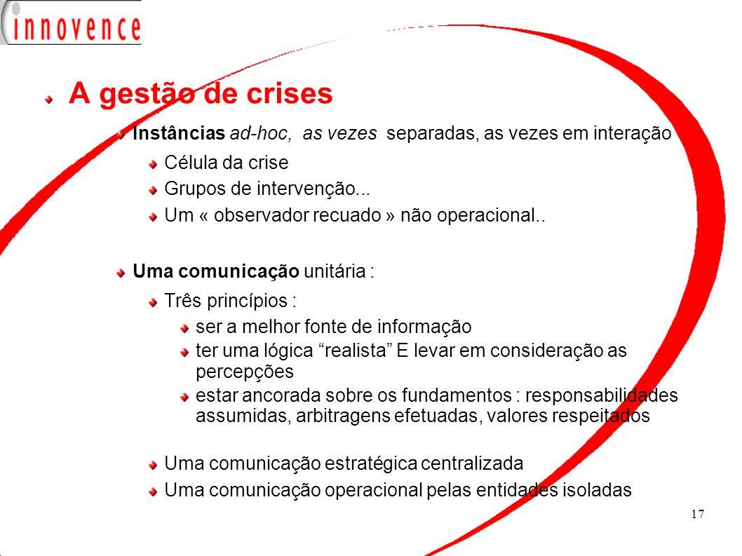 A gestão de crises Instâncias ad-hoc, as vezes separadas, as vezes em interação. Célula da crise.