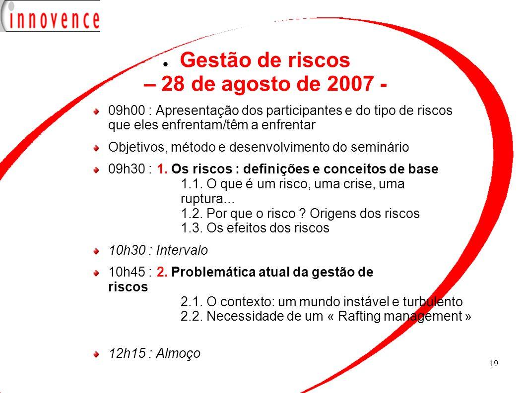 Gestão de riscos – 28 de agosto de 2007 -