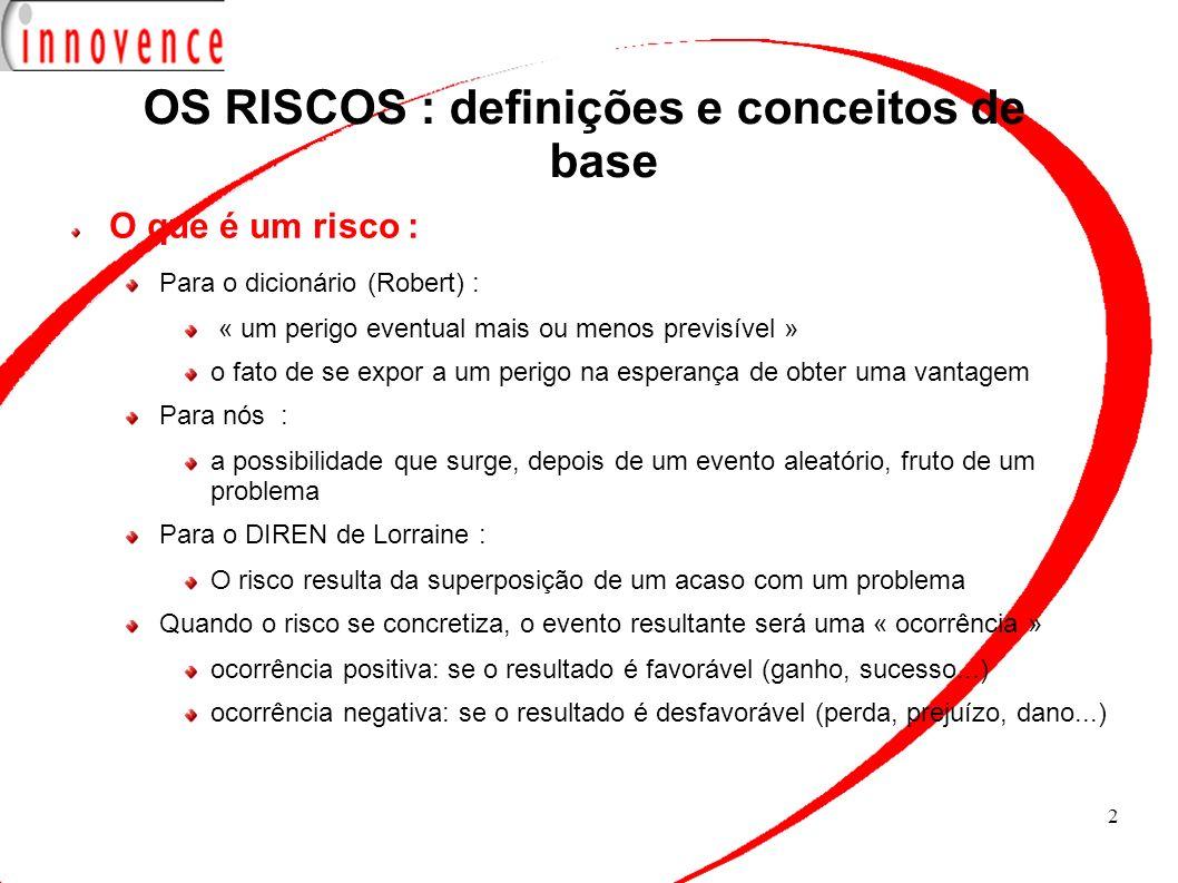 OS RISCOS : definições e conceitos de base