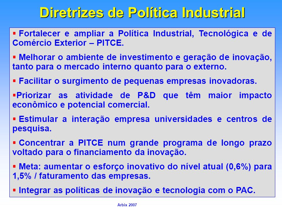 Diretrizes de Política Industrial