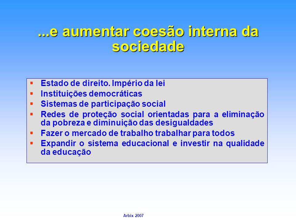 ...e aumentar coesão interna da sociedade