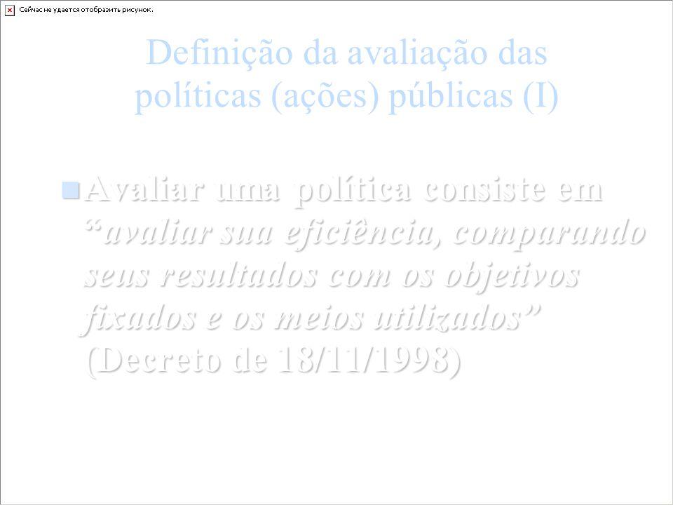 Definição da avaliação das políticas (ações) públicas (I)