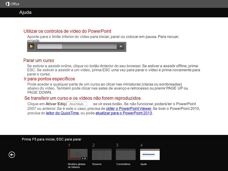 Ajuda Ajuda Utilizar os controlos de vídeo do PowerPoint