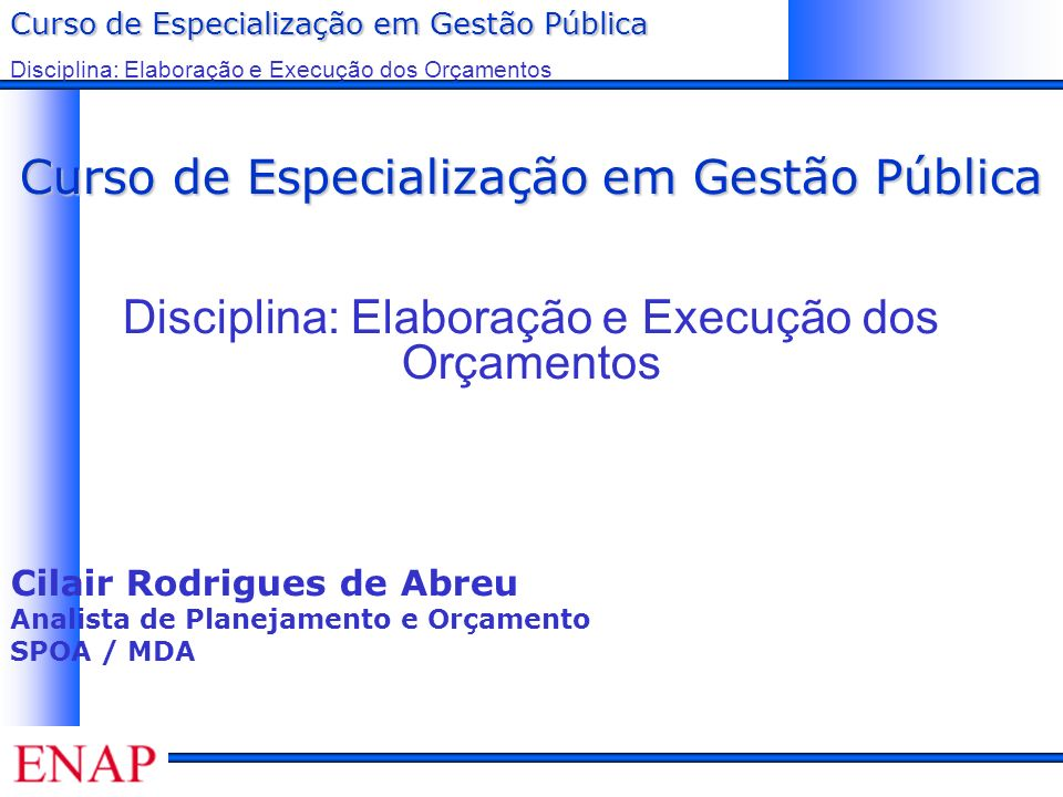 Curso de Especialização em Gestão Pública