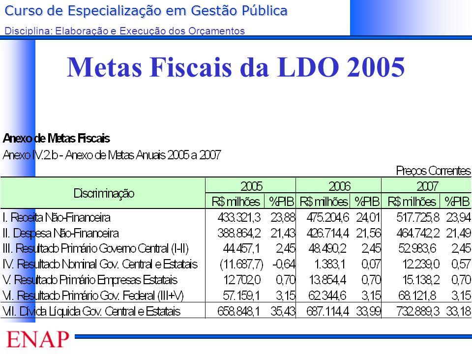 Metas Fiscais da LDO 2005