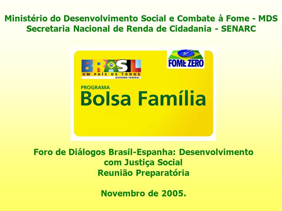 Ministério do Desenvolvimento Social e Combate à Fome - MDS Secretaria Nacional de Renda de Cidadania - SENARC