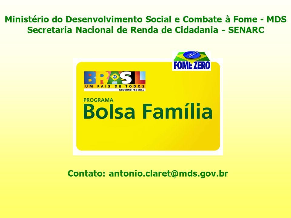 Contato: antonio.claret@mds.gov.br