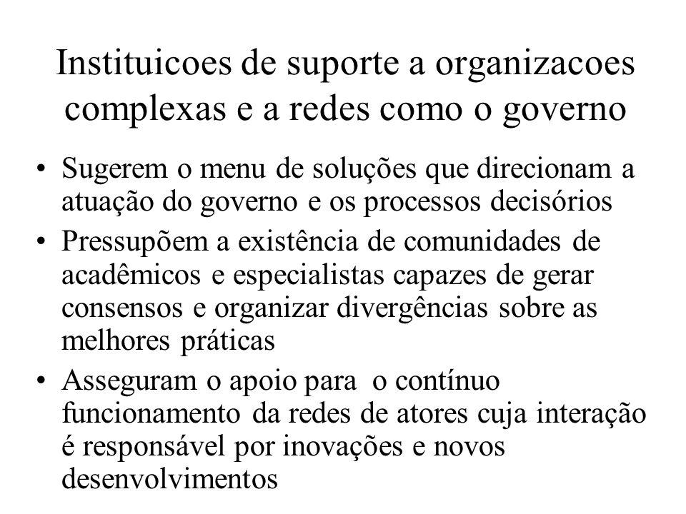 Instituicoes de suporte a organizacoes complexas e a redes como o governo
