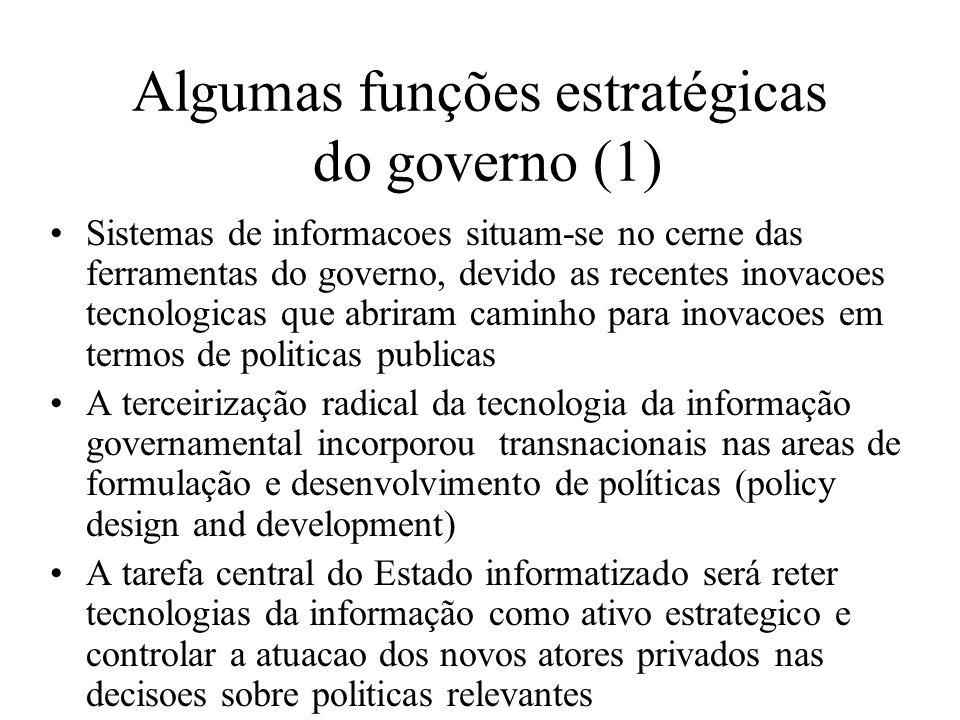 Algumas funções estratégicas do governo (1)