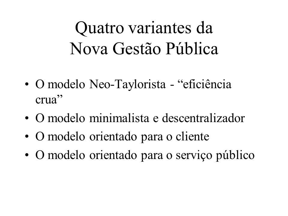 Quatro variantes da Nova Gestão Pública