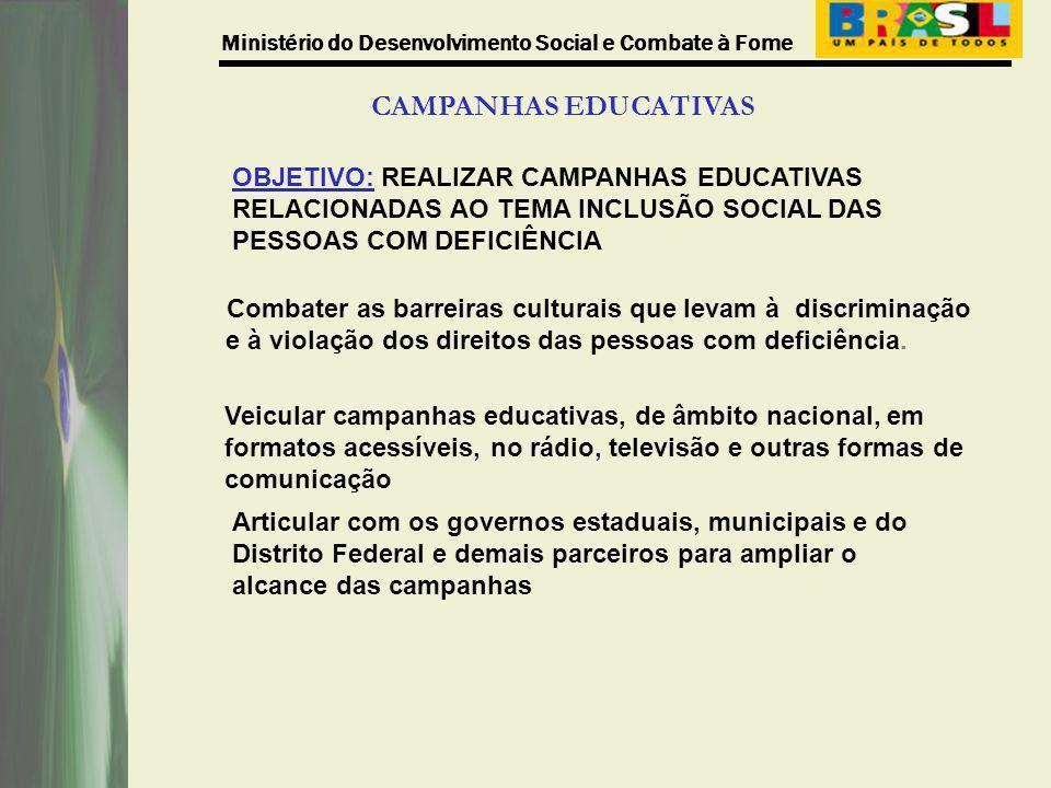 CAMPANHAS EDUCATIVAS OBJETIVO: REALIZAR CAMPANHAS EDUCATIVAS RELACIONADAS AO TEMA INCLUSÃO SOCIAL DAS PESSOAS COM DEFICIÊNCIA.