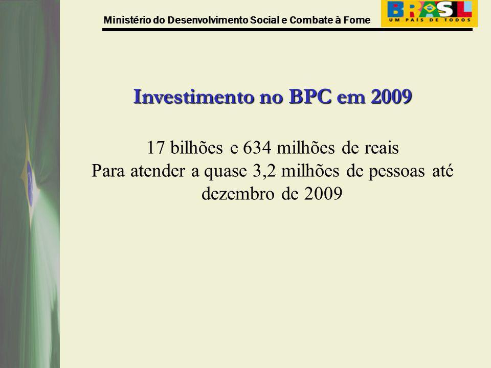 Investimento no BPC em 2009 17 bilhões e 634 milhões de reais