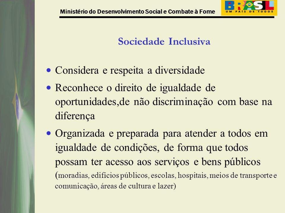 Sociedade Inclusiva Considera e respeita a diversidade.
