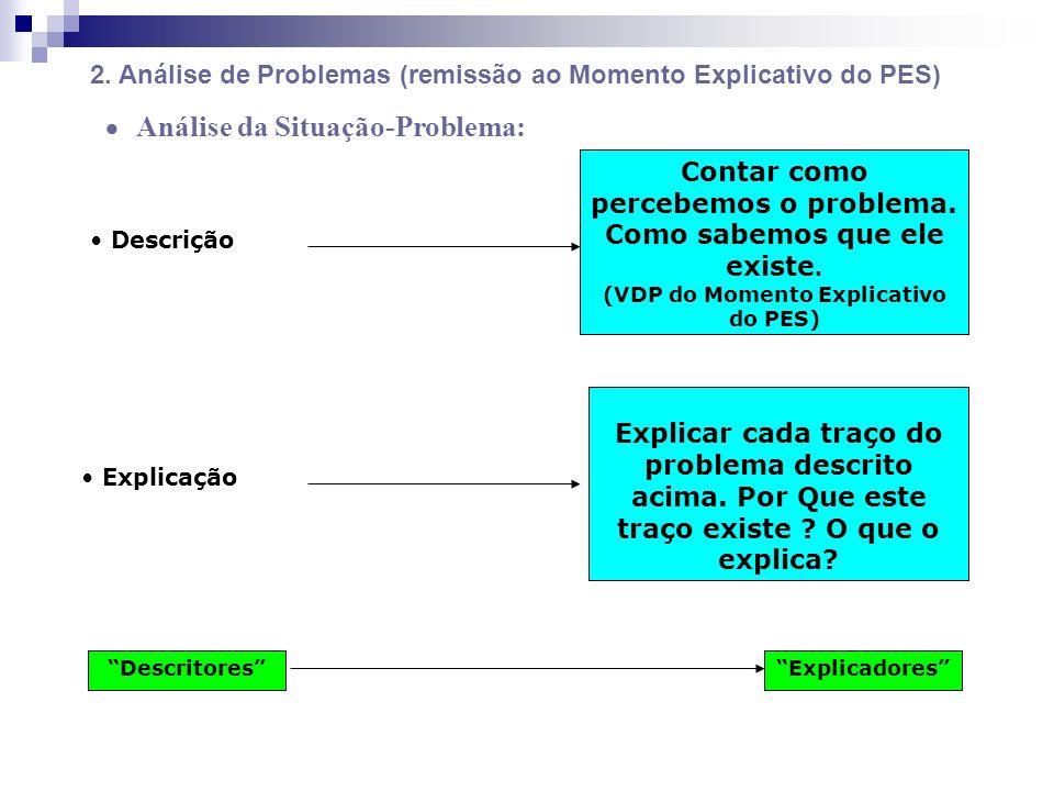 2. Análise de Problemas (remissão ao Momento Explicativo do PES)