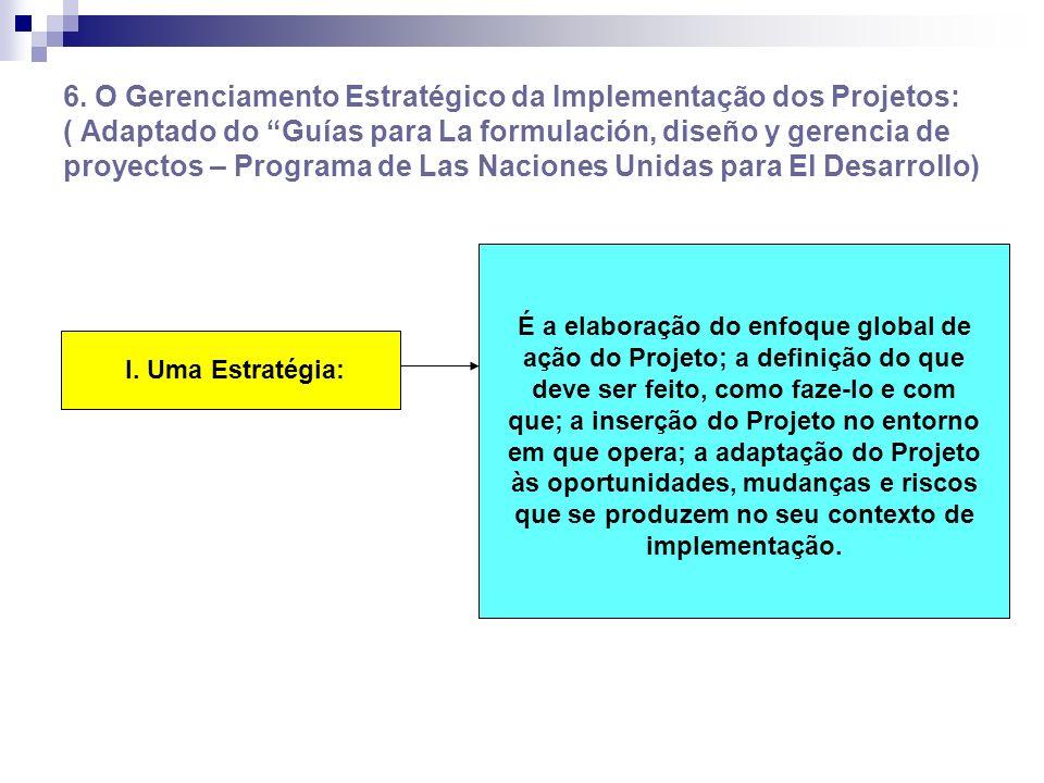 6. O Gerenciamento Estratégico da Implementação dos Projetos: ( Adaptado do Guías para La formulación, diseño y gerencia de proyectos – Programa de Las Naciones Unidas para El Desarrollo)