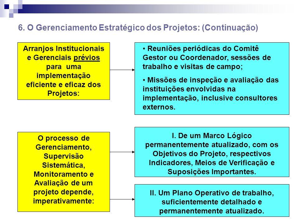 6. O Gerenciamento Estratégico dos Projetos: (Continuação)
