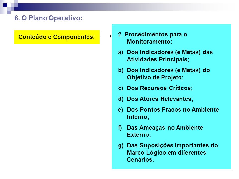 6. O Plano Operativo: 2. Procedimentos para o Monitoramento: