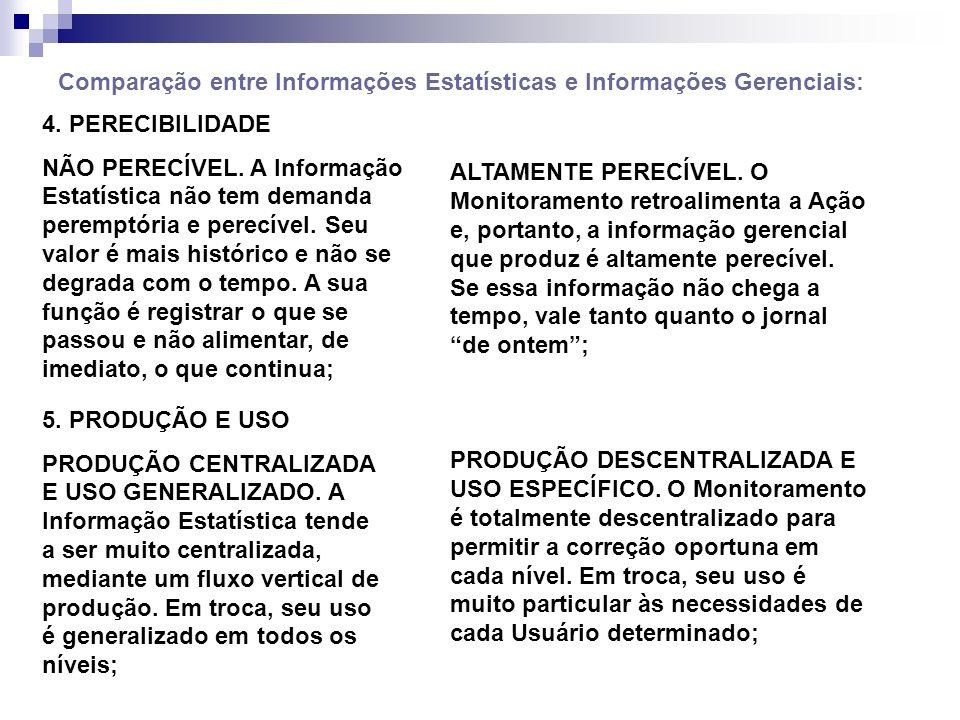 Comparação entre Informações Estatísticas e Informações Gerenciais: