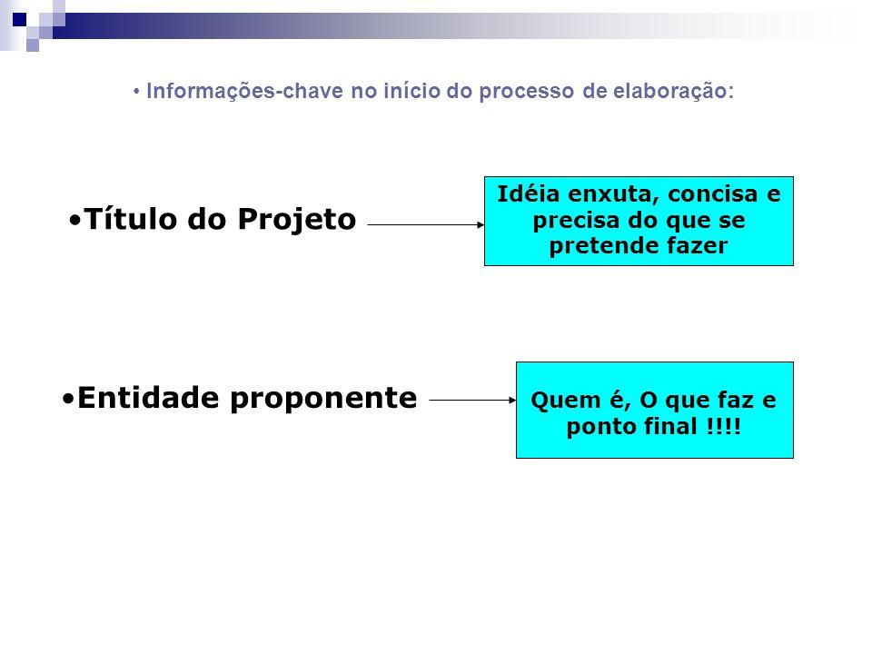 Título do Projeto Entidade proponente