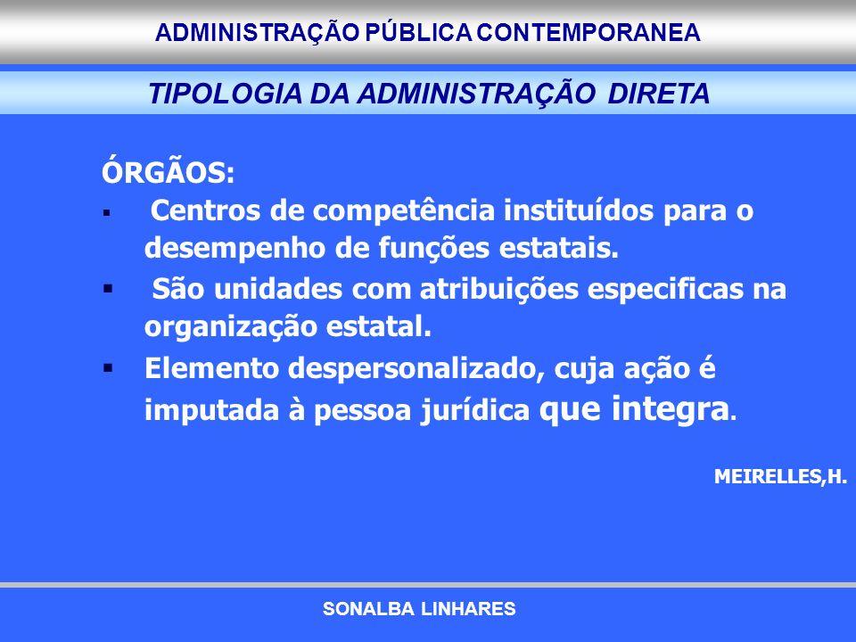 TIPOLOGIA DA ADMINISTRAÇÃO DIRETA