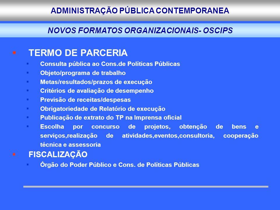 NOVOS FORMATOS ORGANIZACIONAIS- OSCIPS