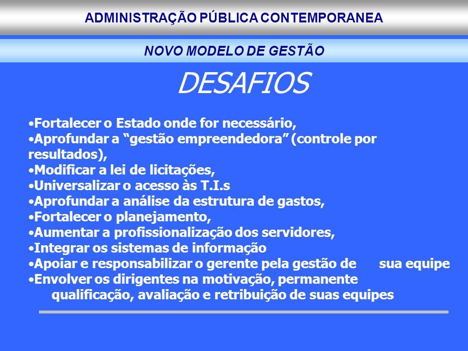 DESAFIOS NOVO MODELO DE GESTÃO