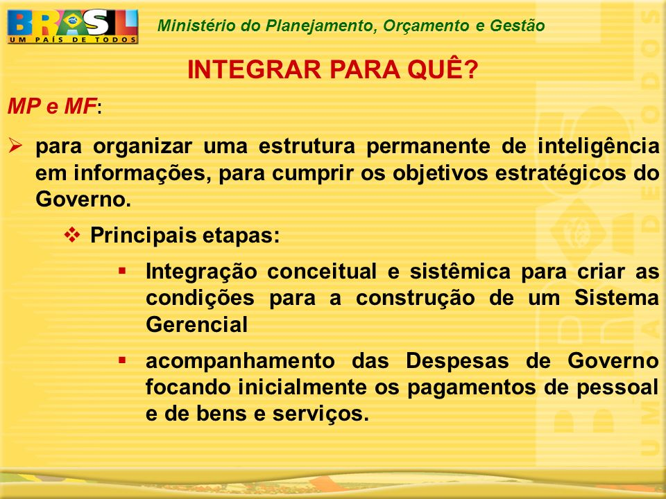 INTEGRAR PARA QUÊ MP e MF: