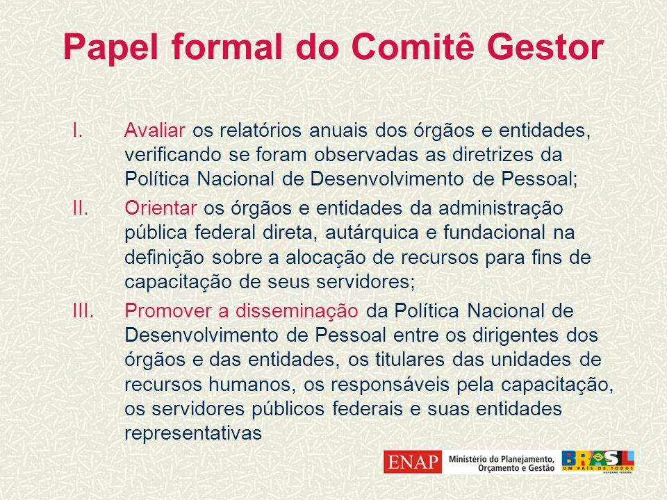Papel formal do Comitê Gestor