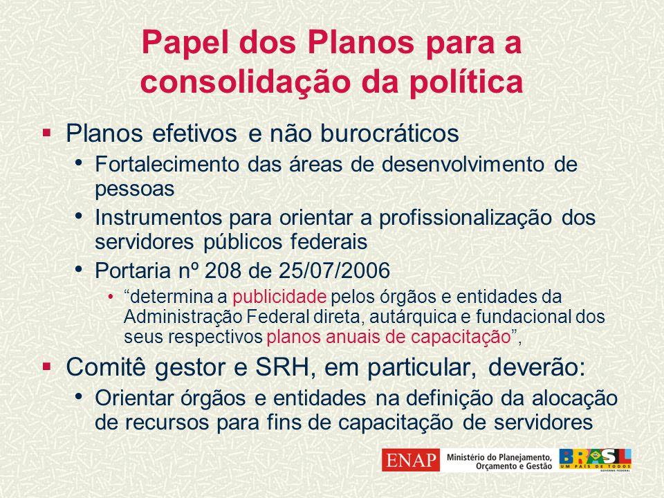Papel dos Planos para a consolidação da política