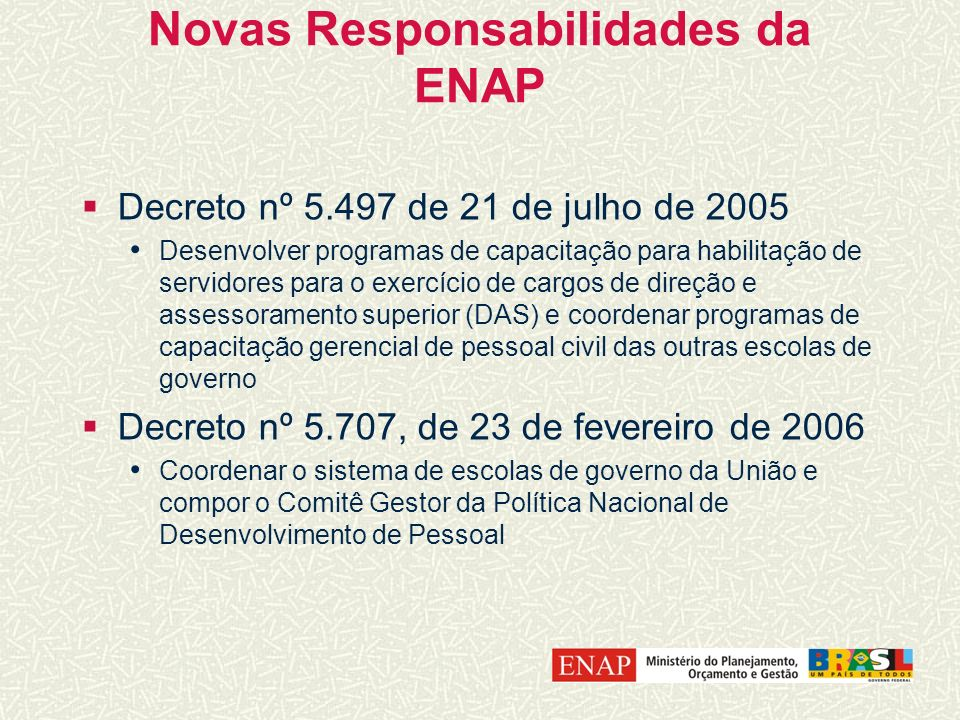 Novas Responsabilidades da ENAP