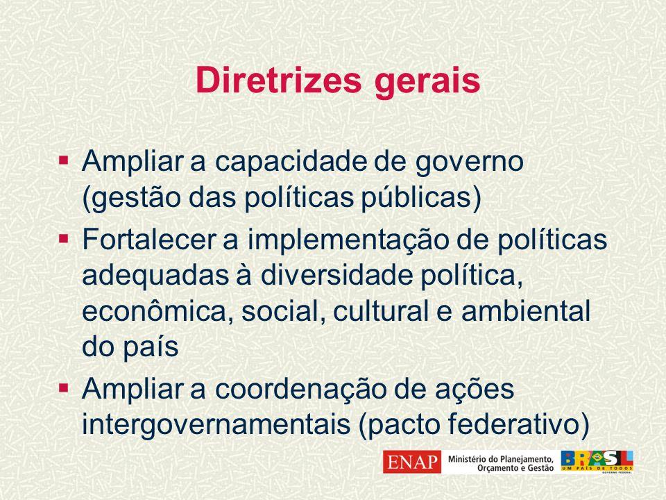 Diretrizes gerais Ampliar a capacidade de governo (gestão das políticas públicas)