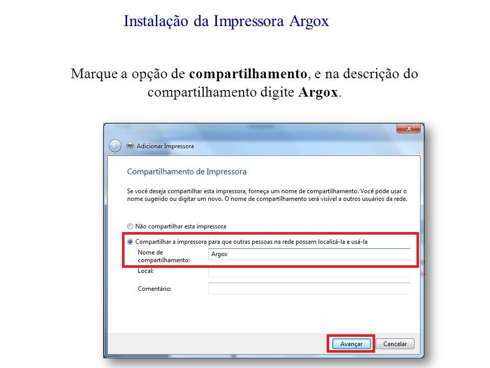 Instalação da Impressora Argox
