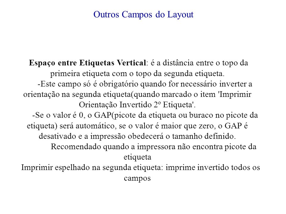 Outros Campos do Layout
