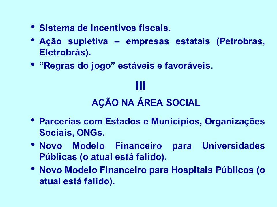 III AÇÃO NA ÁREA SOCIAL Sistema de incentivos fiscais.