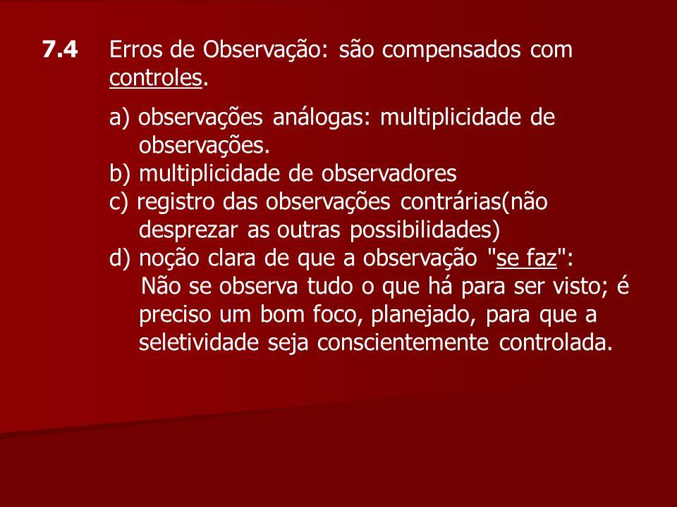7.4 Erros de Observação: são compensados com controles.