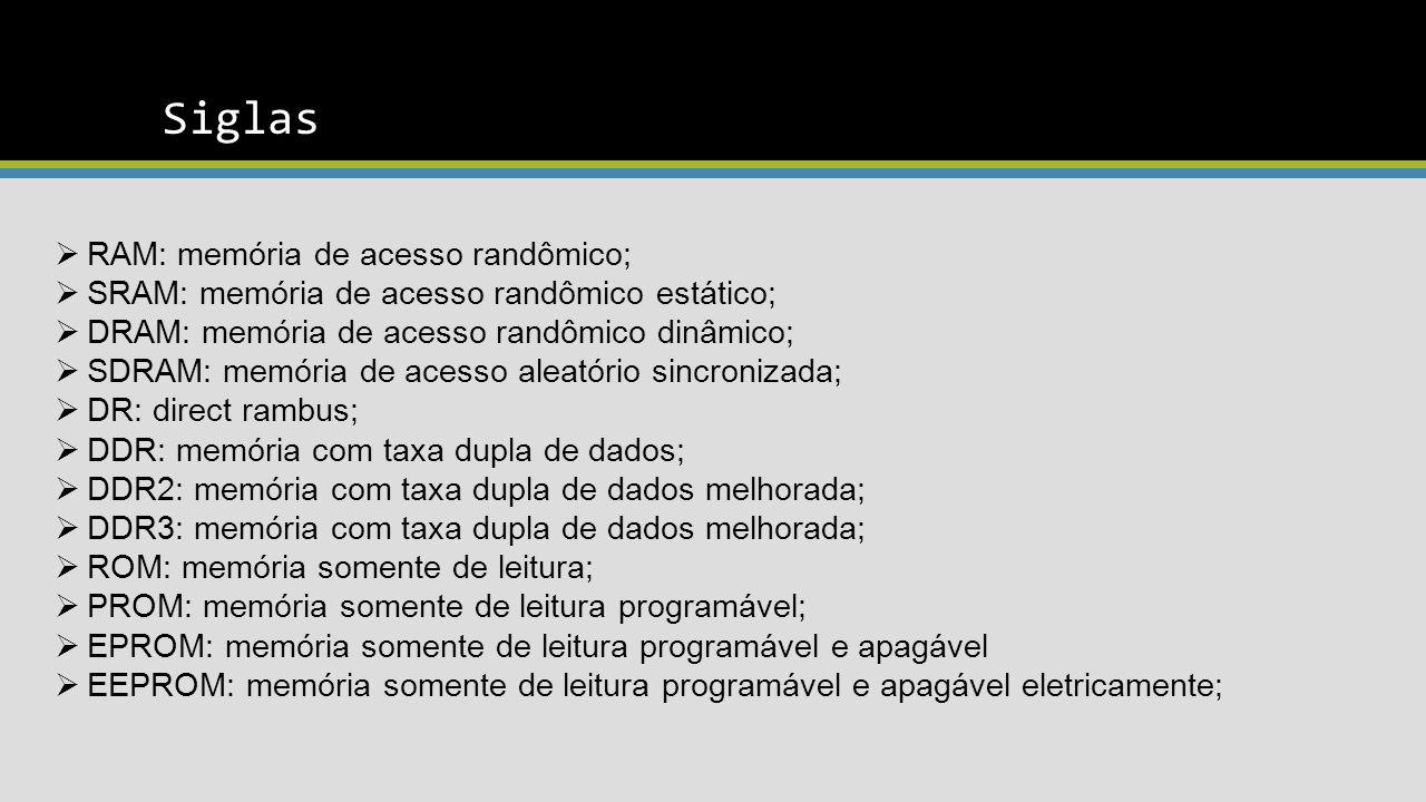 Siglas RAM: memória de acesso randômico;