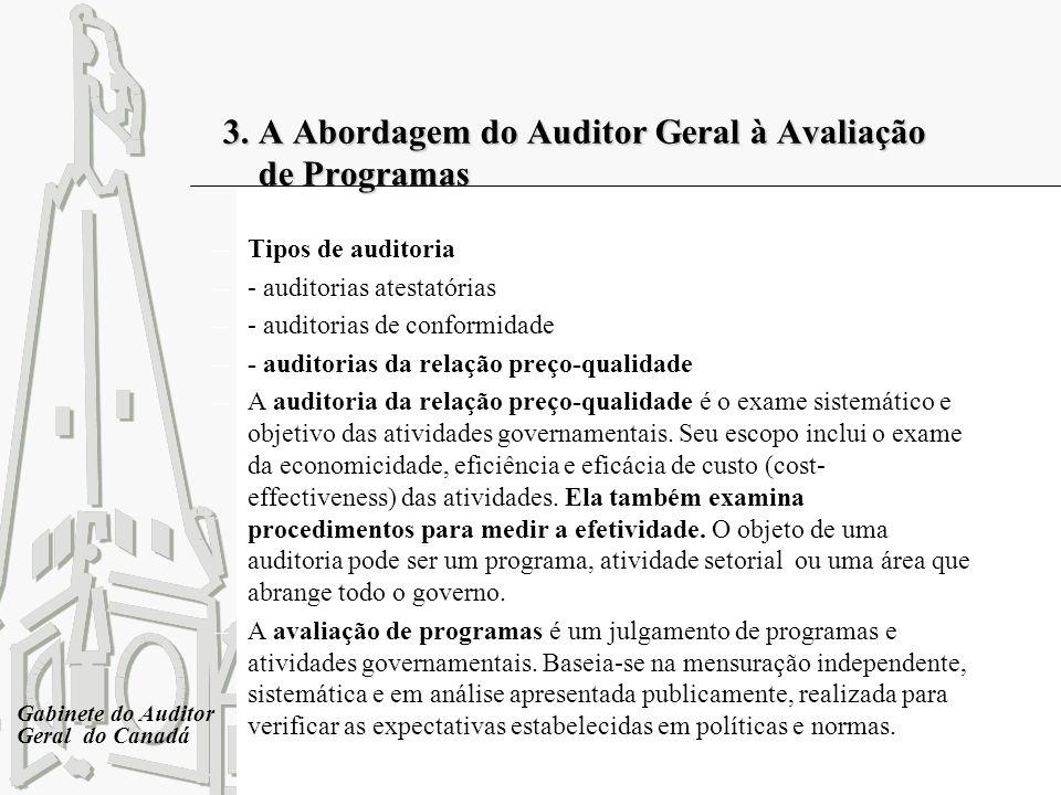3. A Abordagem do Auditor Geral à Avaliação de Programas