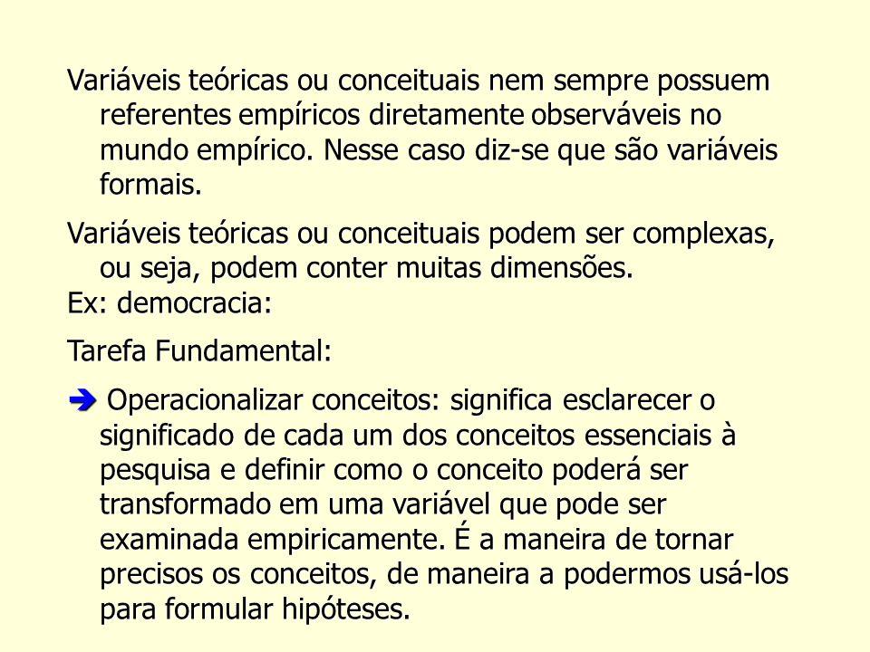 Variáveis teóricas ou conceituais nem sempre possuem referentes empíricos diretamente observáveis no mundo empírico. Nesse caso diz-se que são variáveis formais.