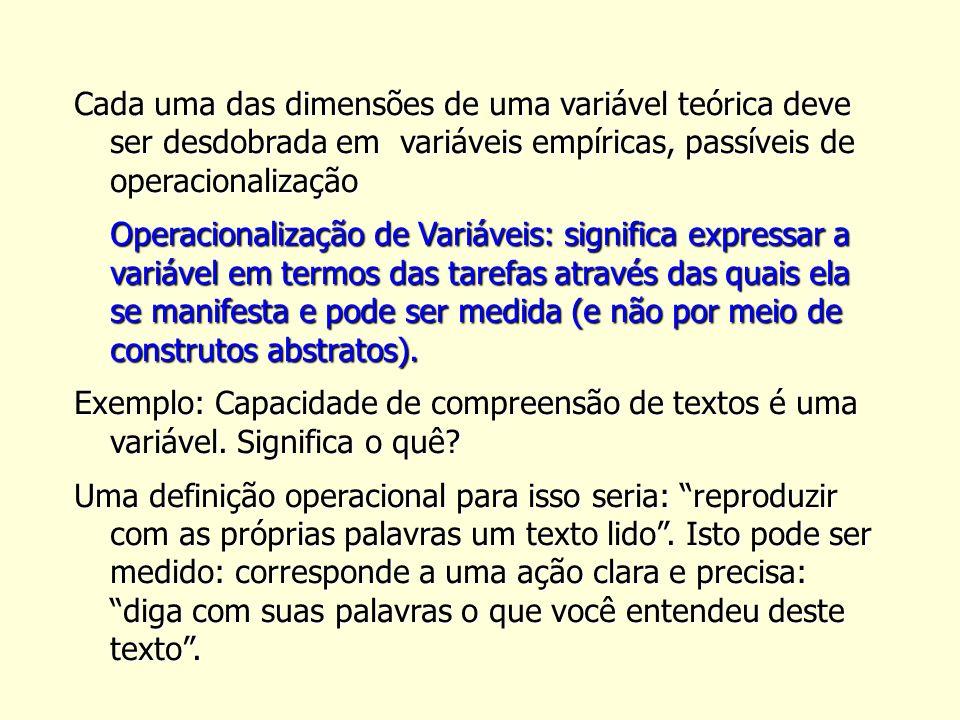 Cada uma das dimensões de uma variável teórica deve ser desdobrada em variáveis empíricas, passíveis de operacionalização